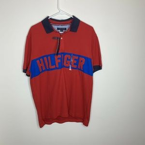 NWT Tommy Hilfiger Mens L Red/Blue Spellout Shirt